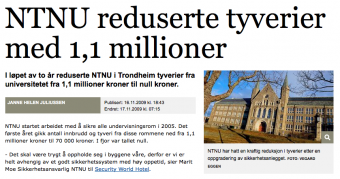 NTNU reduserte tyverier med 1,1 millioner